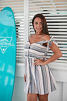 Женское стильное лёгкое натуральное мини платье на бретельках и пуговицах Размеры- 42,44,46,48,50,52,54