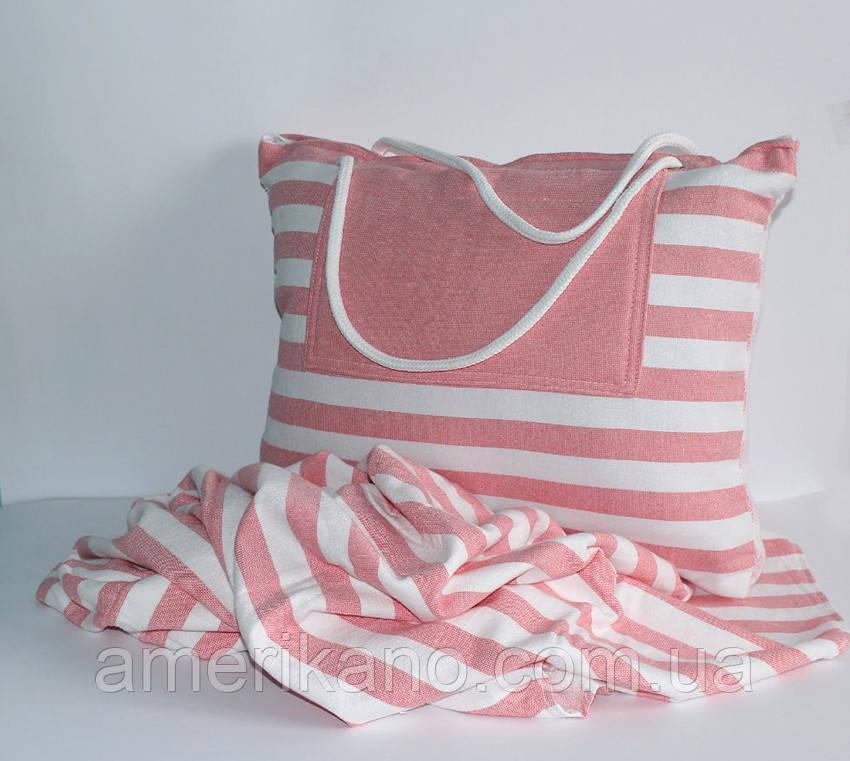 Полотенце-сумка пляжное. Турция. 100% хлопок, махра. 170 см х 90 см. Плотность: 550 гр/м2