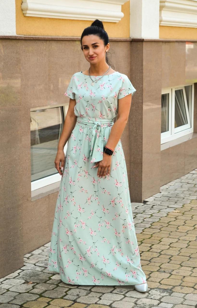 Летнее длинное платье мятное