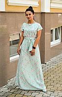 Летнее длинное платье мятное, фото 1