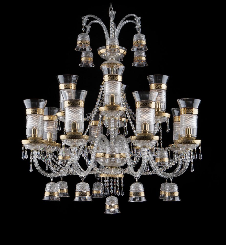 Светильник золотистый хрустальный с колокольчиками