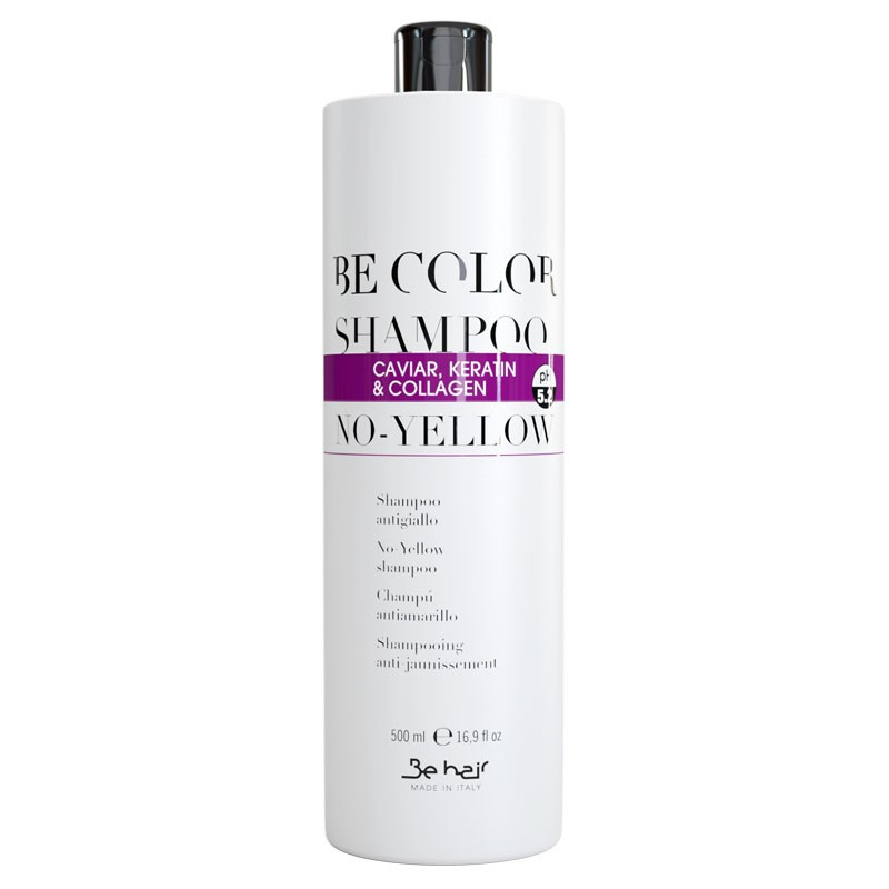 Антижелтый шампунь з колагеном, ікрою і кератином Be Hair Be Color Shampoo No Yellow 500 мл