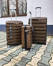 Великий пластиковий чемодан з поліпропілену коричневий, фото 3