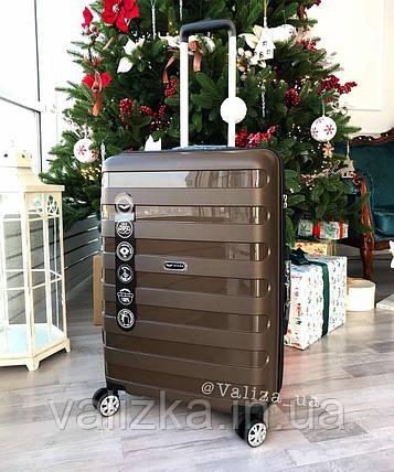 Великий пластиковий чемодан з поліпропілену коричневий, фото 2