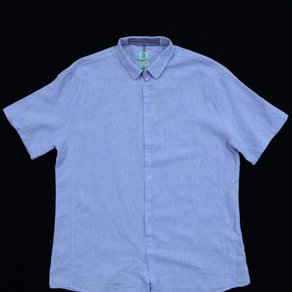 Сорочка чоловіча (приталена) з коротким рукавом Bagarda BG5727-B BLUE 80% льон 20% бавовна 6XL(Р)