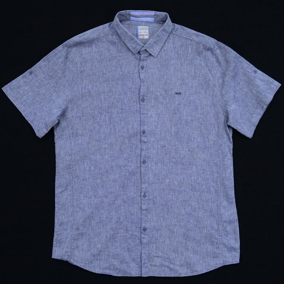 Сорочка чоловіча (приталена) з коротким рукавом Bagarda BG5727-B LIGHT NAVY 80% льон 20% бавовна 4XL(Р)