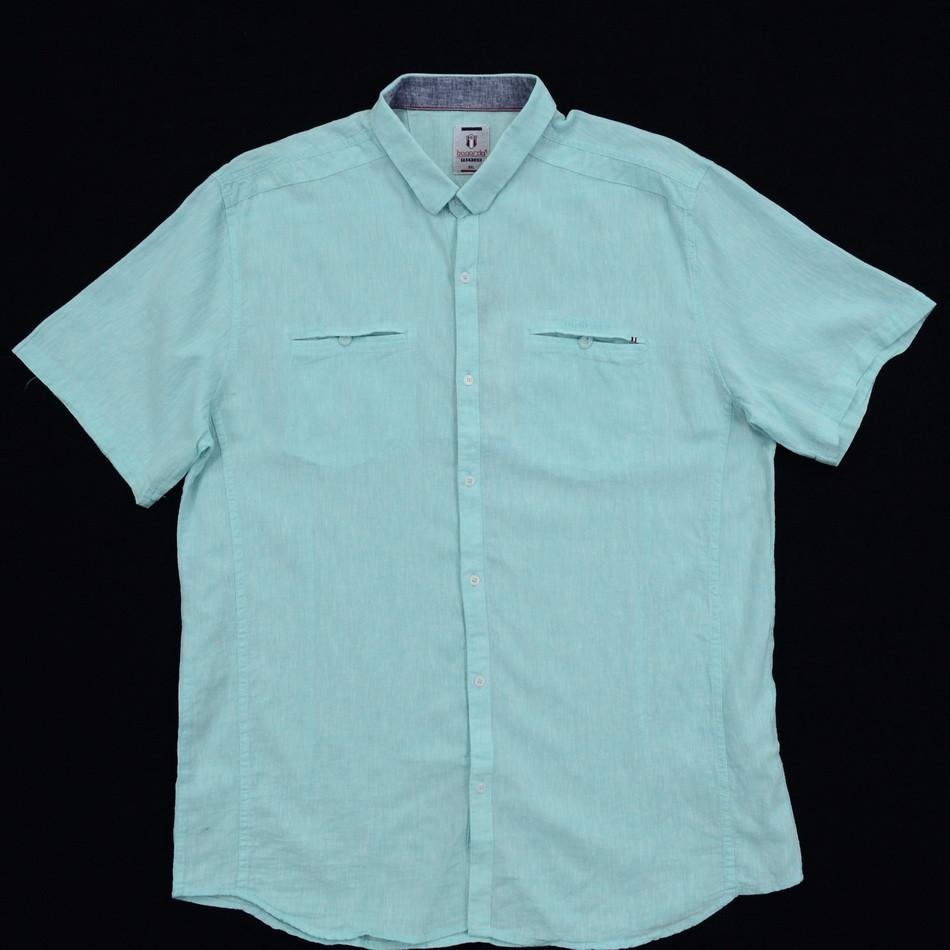 Сорочка чоловіча (приталена) з коротким рукавом Bagarda BG5725-B MINT 80% льон 20% бавовна 4XL(Р)