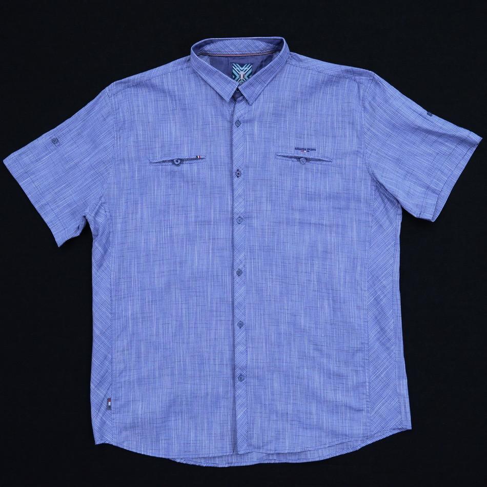 Сорочка чоловіча (приталена) з коротким рукавом Bagarda BG5709-B INDIGO 80% льон 20% бавовна 5XL(Р)