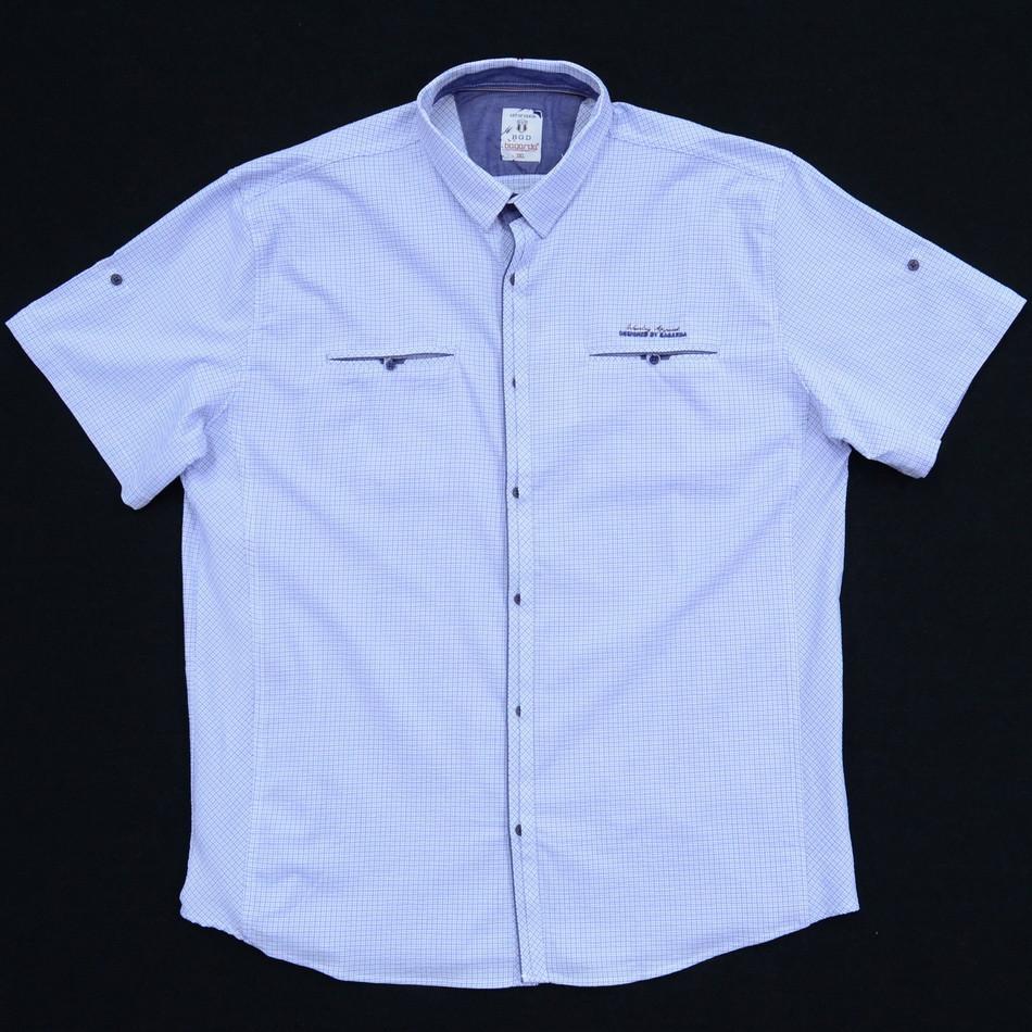 Сорочка чоловіча (приталена) з коротким рукавом Bagarda BG5716-B WHITE 93% бавовна 7% еластан 4XL(Р)