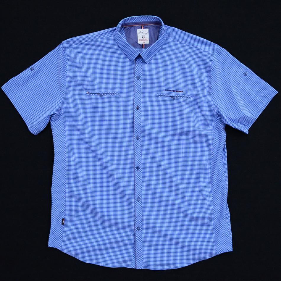 Сорочка чоловіча (приталена) з коротким рукавом Bagarda BG5704-B SAX 93% бавовна 7% еластан 3XL(Р)