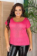 Яскрава жіноча стильна жіноча літнє рожева футболка батал з віскози (р. 42-52). Арт-1056/11, фото 1