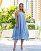 Женское голубое льняное платье в полоску (2 цвета) PY/-1043