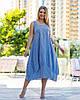 Женское синие льняное платье в полоску (2 цвета) PY/-1043