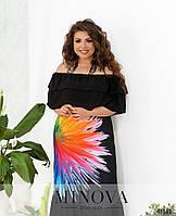 Сукня довга льон великі розміри / платье длинное батальное лен с ярким принтом 50 52 54 56 58 60