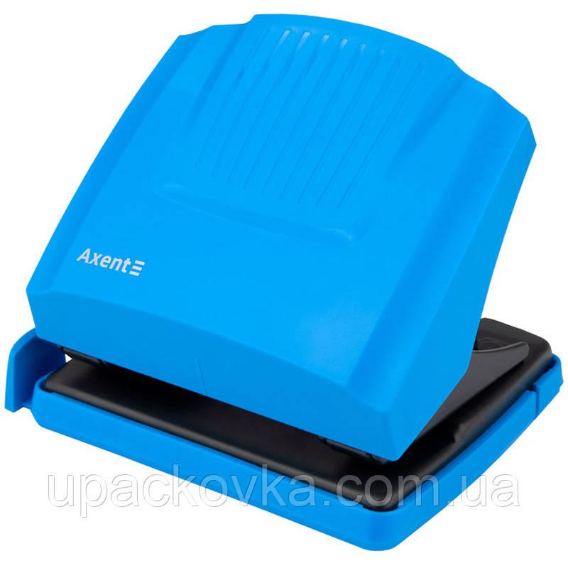 Дырокол Axent Shell 3430-07-A с пластиковым верхом, 30 листов, голубой