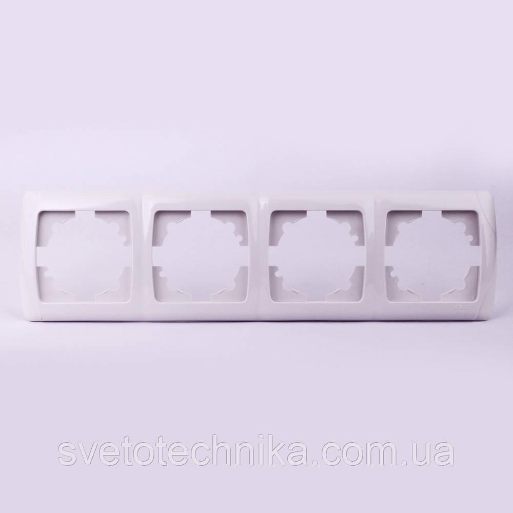Четверная рамка VI-KO Carmen горизонтальная скрытой установки (белая)