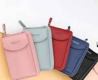 Женская Сумка клатч кошелек с карманом для телефона Wallerry Пудровая