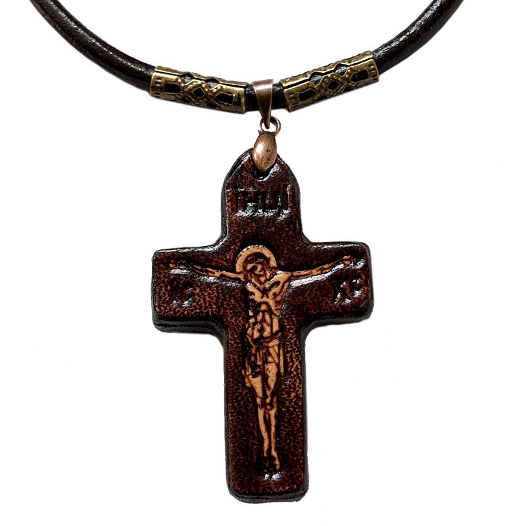 Крест нательный крестик православный из Кожи (25х40х4мм)