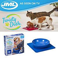 Twisty Dish - нескользящая миска для домашних животных с ковриком / Миска для кормления собак (626)