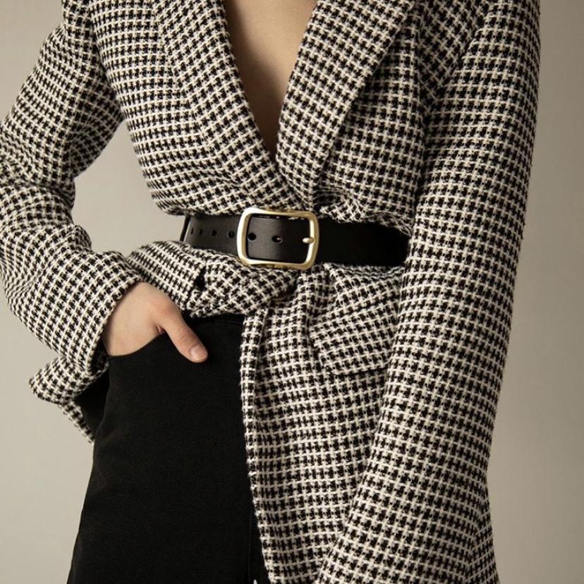 Женский кожаный ремень классический натуральная кожа черный