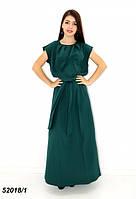 Женское тёмно-зелёное летнее платье в пол 42,44,46