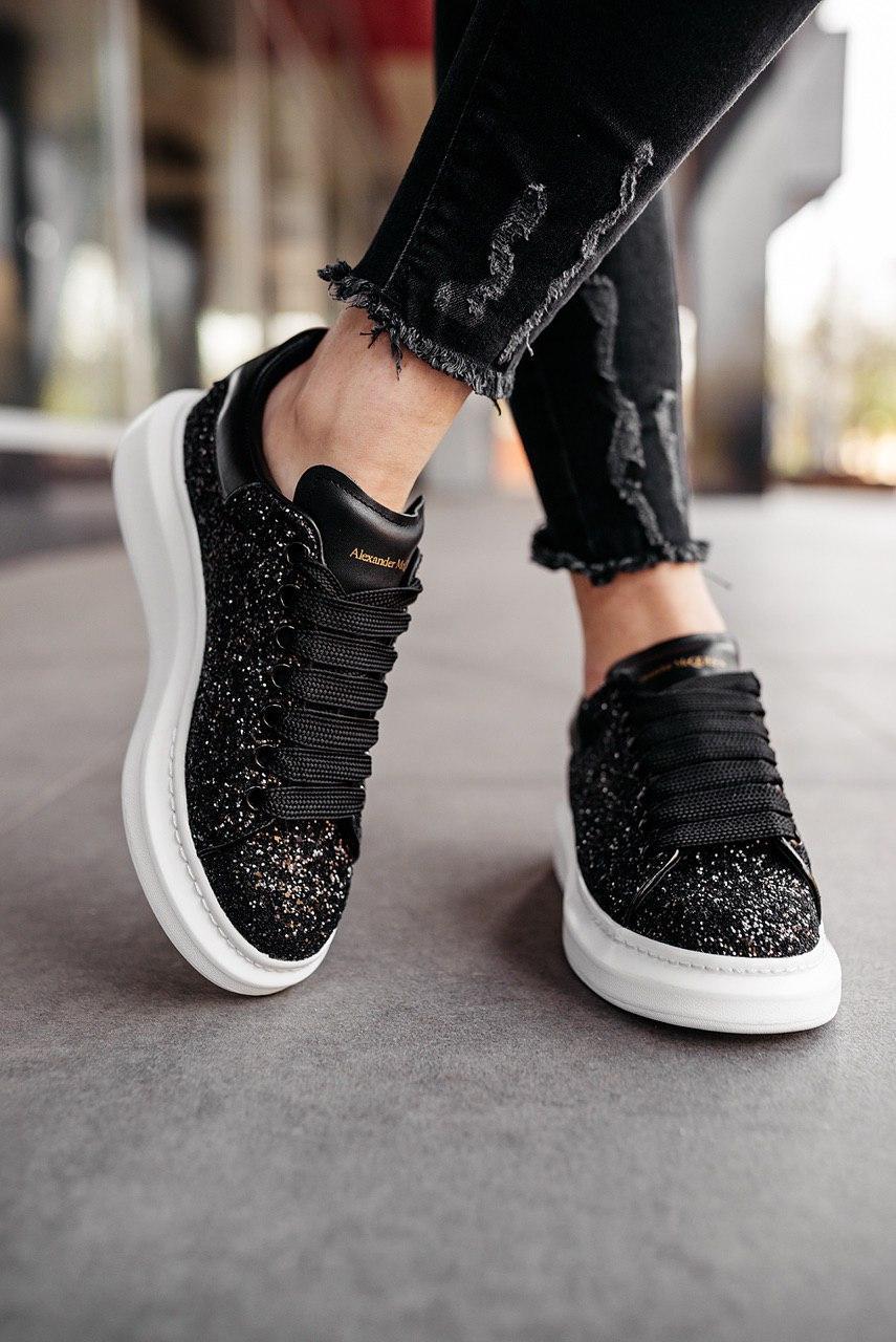 Кроссовки мужские Alexander McQueen Wmns Oversized Sneaker Black Glitter