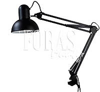 Лампа настольная,черная на струбцине