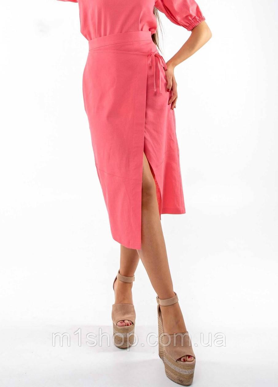 Льняная летняя однотонная юбка-карандаш миди с разрезом (Барли ri)