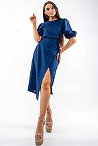 Льняная летняя однотонная юбка-карандаш миди с разрезом (Барли ri), фото 2