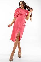 Льняная летняя однотонная юбка-карандаш миди с разрезом (Барли ri), фото 3