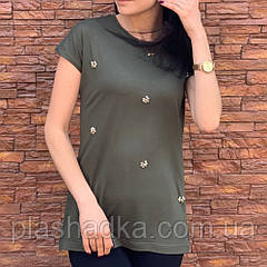 Женская футболка большого размера хаки 48-50 р. батал Турция