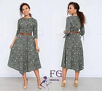 Женское платье миди в горошек для лета