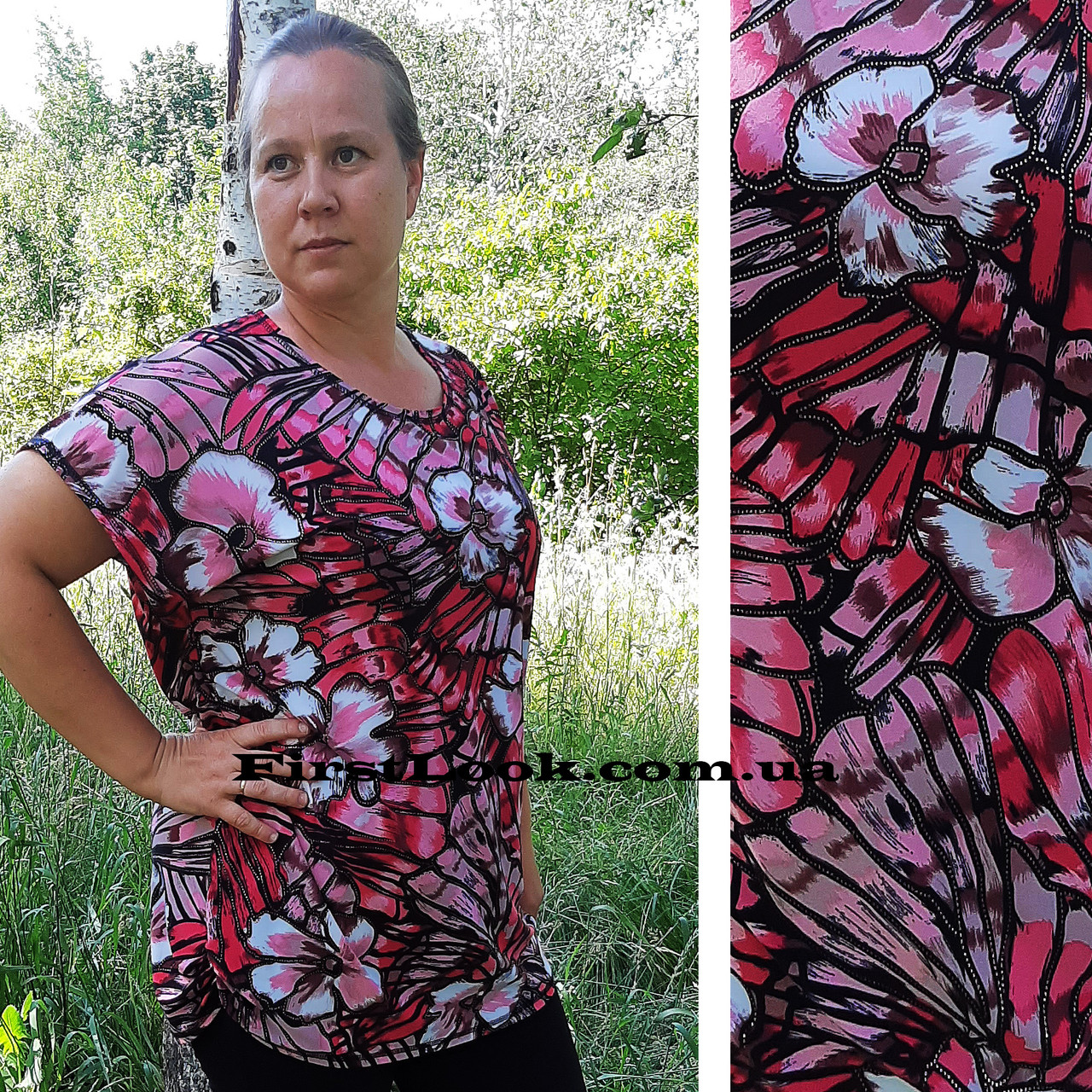 Женская туника-футболка большие размеры с 50 по 64 размер