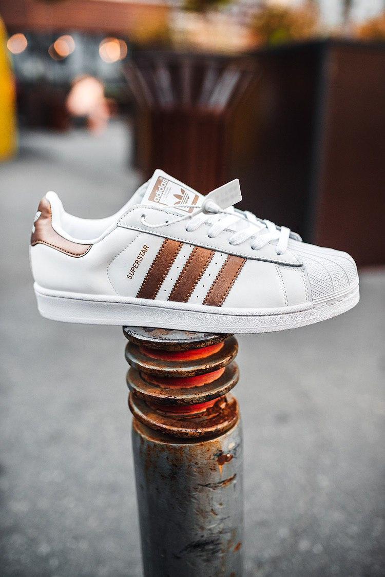 Кроссовки женские Adidas Superstar White Linen