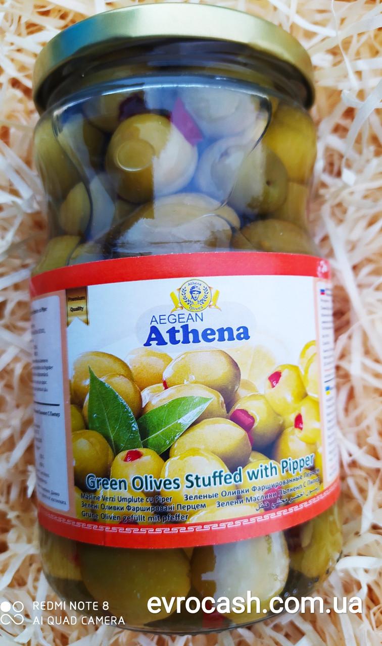 Зелені оливки Athenа фаршировані перцем 700 мл
