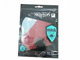 Маска тканевая для защиты органов дыхания с клапаном Fashion бордовая