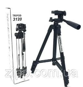 Трипод для камеры фотоаппарата и телефона раскладной портативный 35-102 см штатив с чехлом TRIPOD 3120A черный