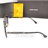 Чоловічі сонцезахисні окуляри Emporio Armani Polarized Aviator оправа металева Армані люкс репліка, фото 3