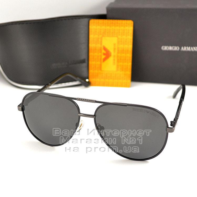 Чоловічі сонцезахисні окуляри Emporio Armani Polarized Aviator оправа металева Армані люкс репліка
