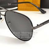 Чоловічі сонцезахисні окуляри Emporio Armani Polarized Aviator оправа металева Армані люкс репліка, фото 2