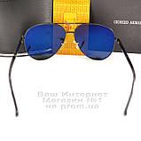 Чоловічі сонцезахисні окуляри Emporio Armani Polarized Aviator оправа металева Армані люкс репліка, фото 6