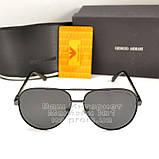 Чоловічі сонцезахисні окуляри Emporio Armani Polarized Aviator оправа металева Армані люкс репліка, фото 7
