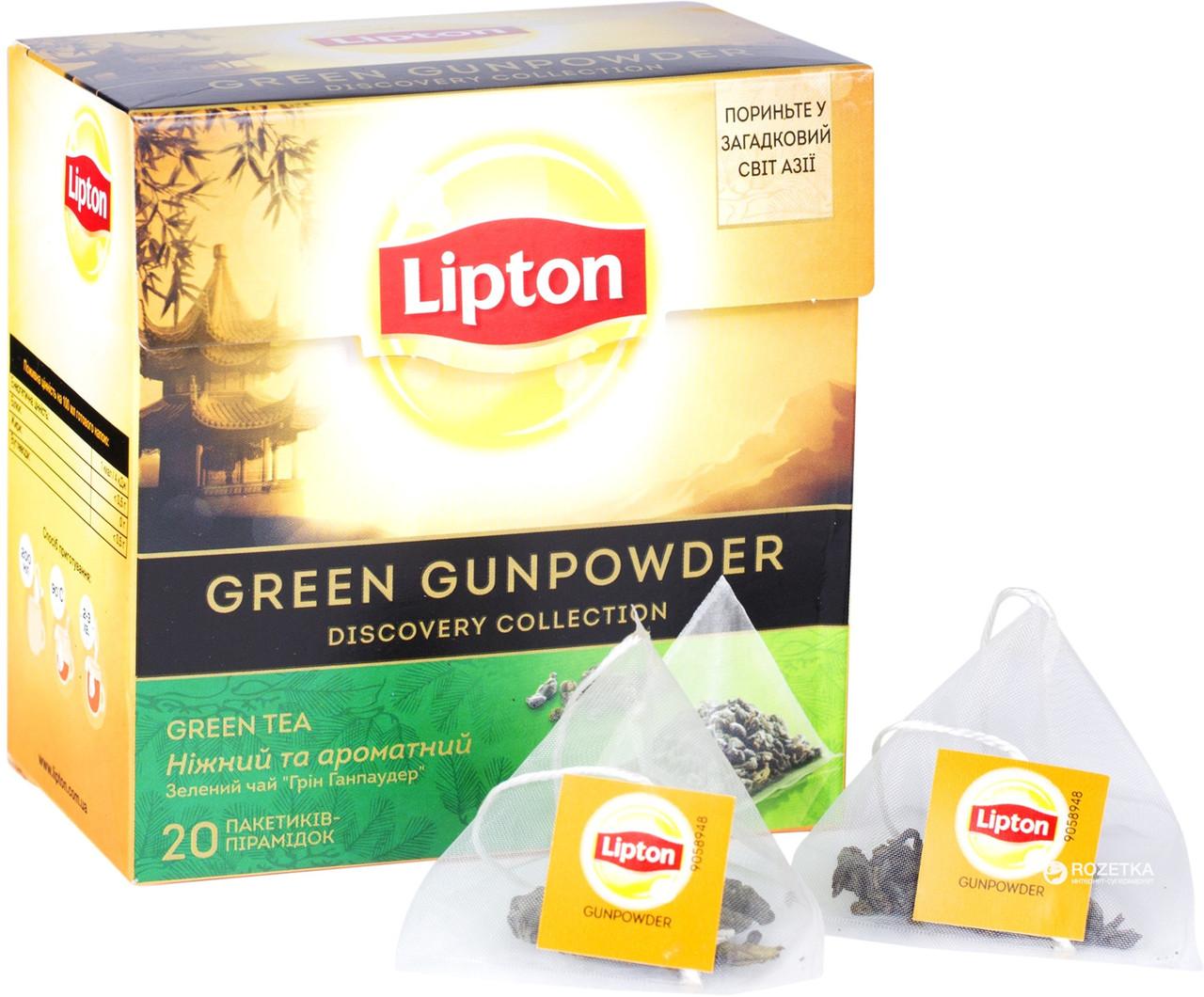 Зелёный чай Липтон Gunpowder с ароматом османтуса 20 пирамидок