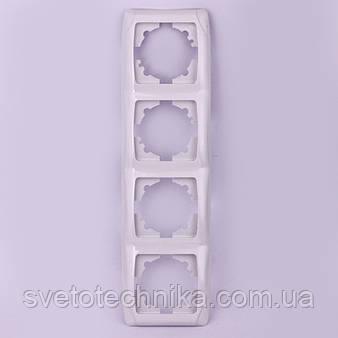 Четверная рамка VI-KO Carmen вертикальная скрытой установки (белая)