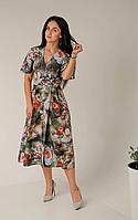 Платье женское за колено на запах с V-образным вырезом, фото 1