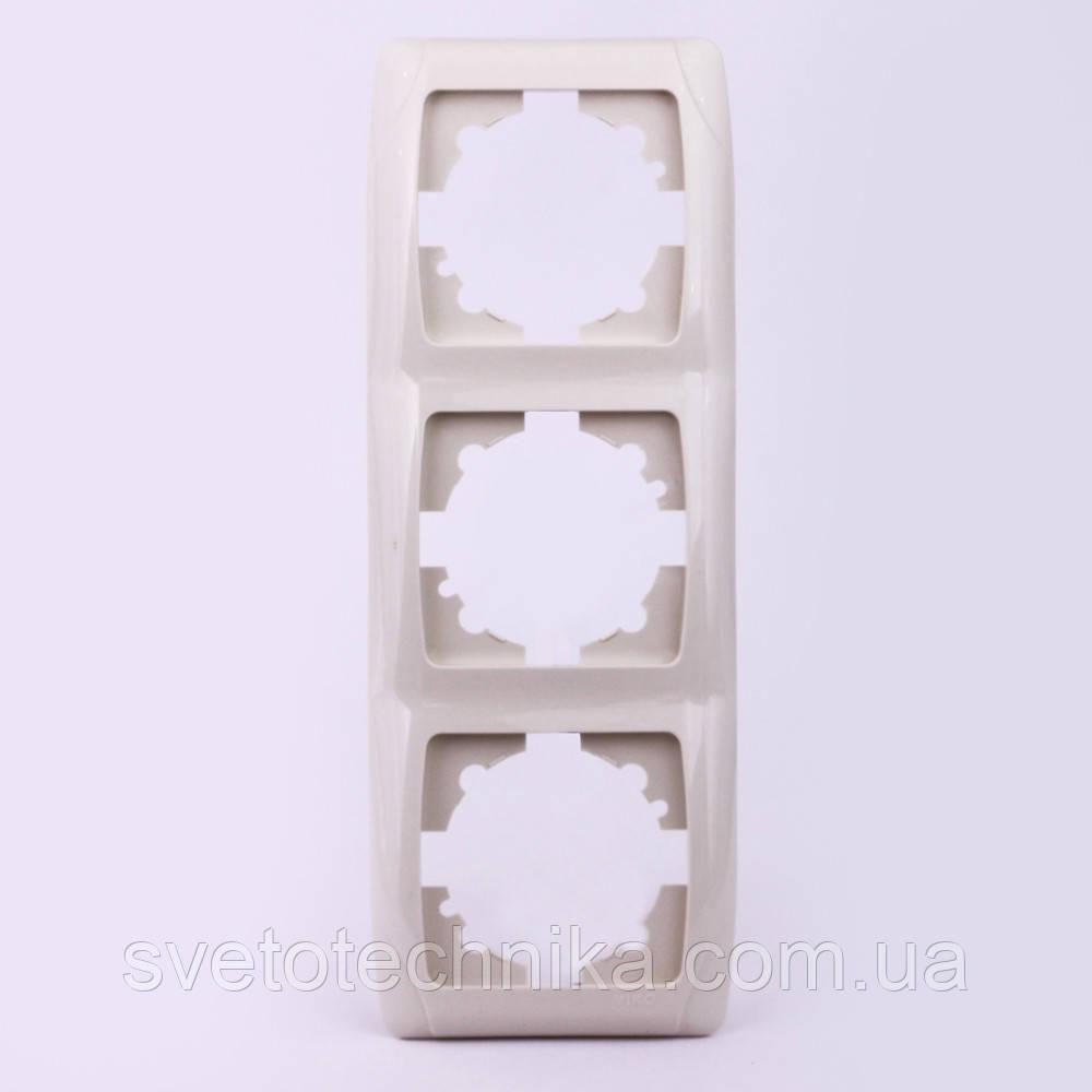 Тройная рамка VI-KO Carmen вертикальная скрытой установки (белая)
