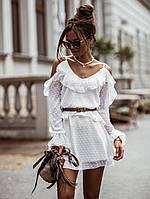 """Мини платье легкое воздушное летнее белое с открытыми плечами и рюшами """"Полли"""""""