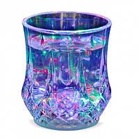 Стакан с Led лед подсветкой на батарейках прозрачный пластик Induktive Rainbow Color Cup W-70 Zdx 179857