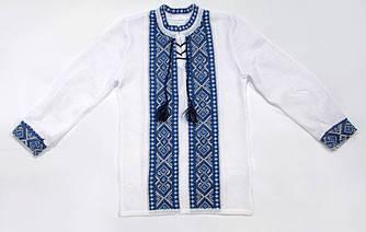 Вязаная вышиванка на льне - Ромбы синие