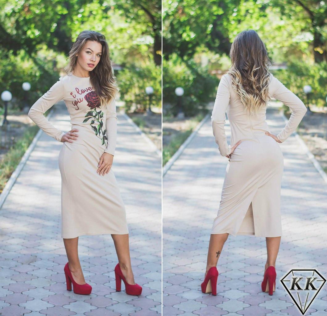 Бежевое платье с розой